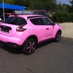 Aplikace růžové 3D folie na lak a kola